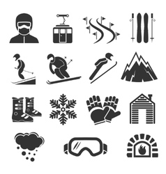 Ski resort sports icons winter snow skiing sport vector