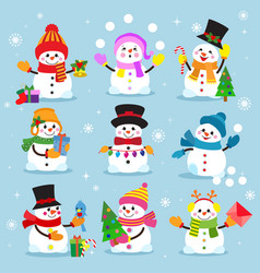 snowman cartoon winter christmas character holiday vector image vector image