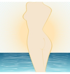 The woman at the sea and the sun vector image vector image