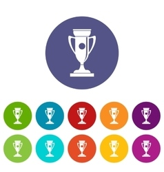 Winning cup set icons vector