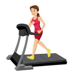 Woman on a treadmill vector