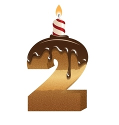 Birthday cake font - number two vector