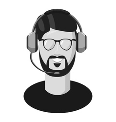 Male consultant in headphones icon vector