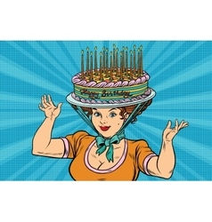 Happy birthday retro woman and the hat cake vector