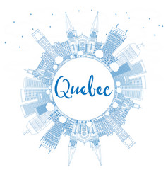 Outline quebec skyline with blue buildings vector