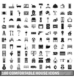 100 comfortable house icons set in simple style vector