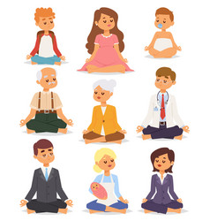 Lotus position yoga pose meditation art relax vector