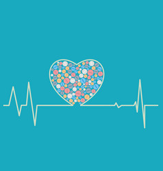 Health concept - a heart shaped cardiogram vector