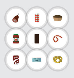 Flat icon meal set of fizzy drink bratwurst vector