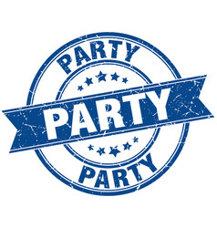 Party round grunge ribbon stamp vector