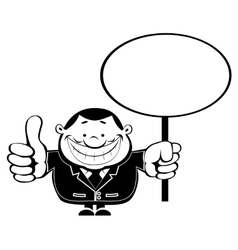 Retro businessman with blank sign vector