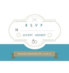Rsvp wedding card blue ribbon theme vector