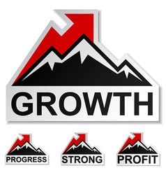 Profit growth winter mountain stickers vector