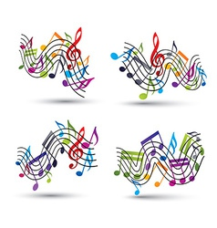Music notes staff abstract compositions vector