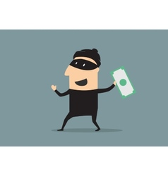 Masked thief with money in cartoon style vector