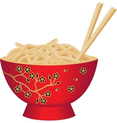 Red chinese noodle bowl with chopsticks vector