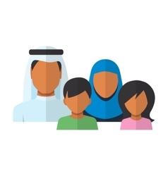 Arab family members avatars in flat style vector