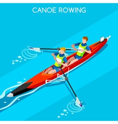 Canoe coxless pair 2016 summer games 3d vector