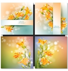Abstract flowers card vector