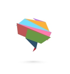Abstract folded paper symbol of brain vector