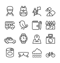 Adventure camping icon set in thin line style vector