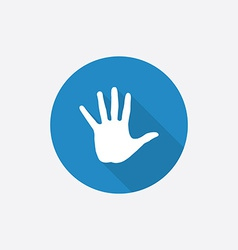 arm Flat Blue Simple Icon with long shadow vector image