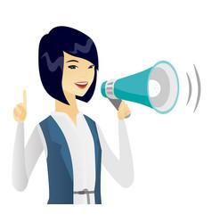 Asian business woman speaking into loudspeaker vector