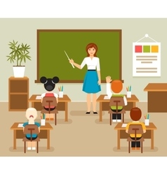 Classroom with teacher and students vector image