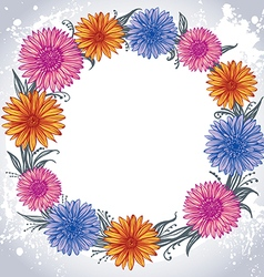 Colorful flowers laid out in a circle vector