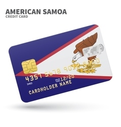 Credit card with American Samoa flag background vector image