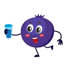 Cute and funny comic style blueberry character vector image