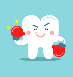 cute cartoon tooth character in red boxing gloves vector image vector image