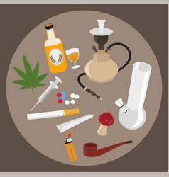 drugs flat icons set vector image vector image