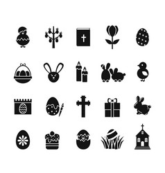 easter icons black and white spring christian vector image