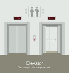 Elevator open and closed doors vector