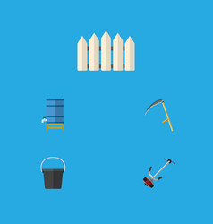 Flat icon farm set of container cutter pail and vector