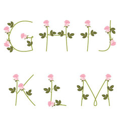 Floral alphabet pink roses from g to m vector