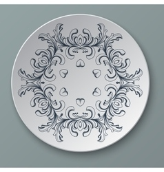 floral ornament plate isolated vector image