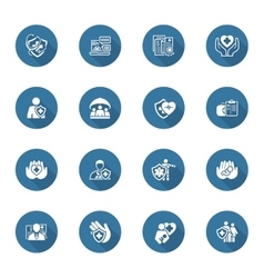 Insurance and Medical Services Icons Set vector image