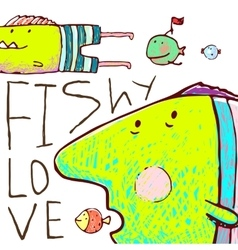 Lovely cartoon funny fish love greeting card vector