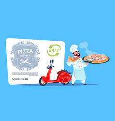 pizza delivery emblem concept chef cook hold box vector image