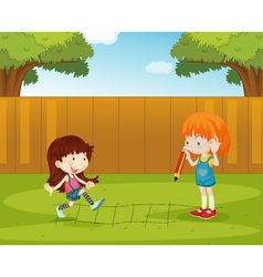 Playing in the backyard vector image vector image