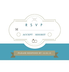RSVP Wedding card blue ribbon theme vector image vector image
