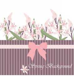 Spring Time Card with pink flowers vector image vector image
