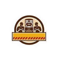Train engineers arms crossed diesel train circle vector