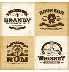 Vintage alcohol labels set vector