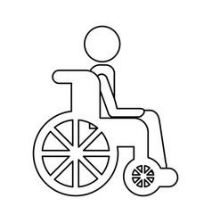 wheelchair with patient icon vector image vector image