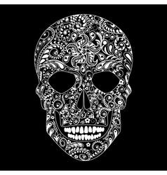 White floral skull vector
