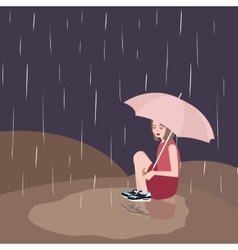 Woman in rain sad under dark sky umbrella vector