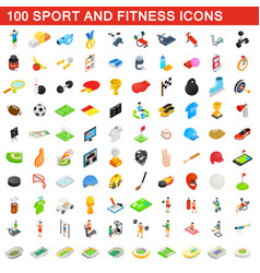 100 sport and fitness icons set isometric style vector image vector image